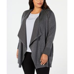 JM Collection Plus Size Studded Cardigan, 3X